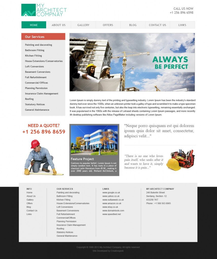 Free Architecture Website Template