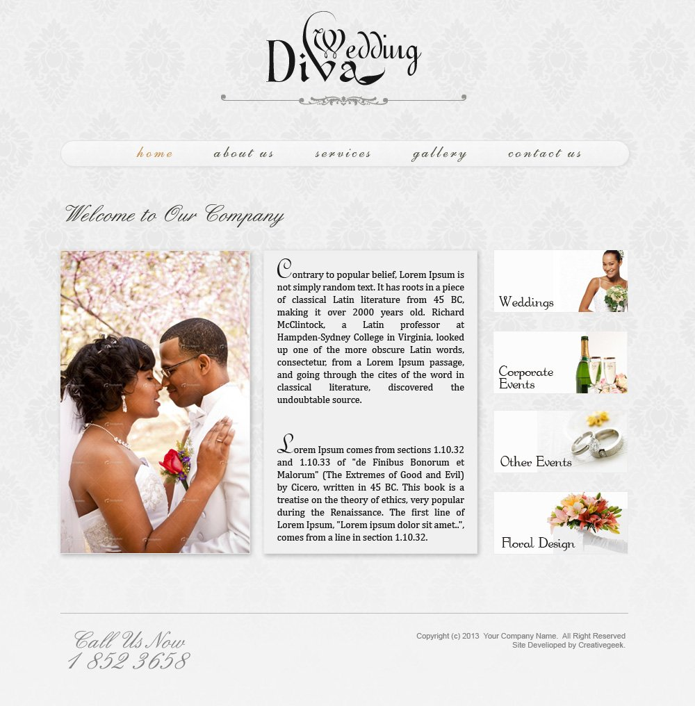 Wedding Website psd Template