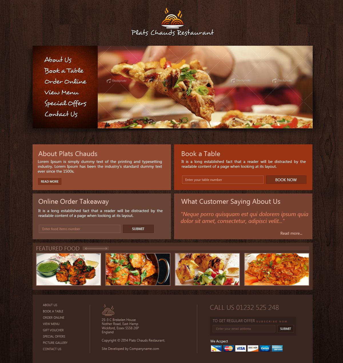 Free Restaurant Website Template