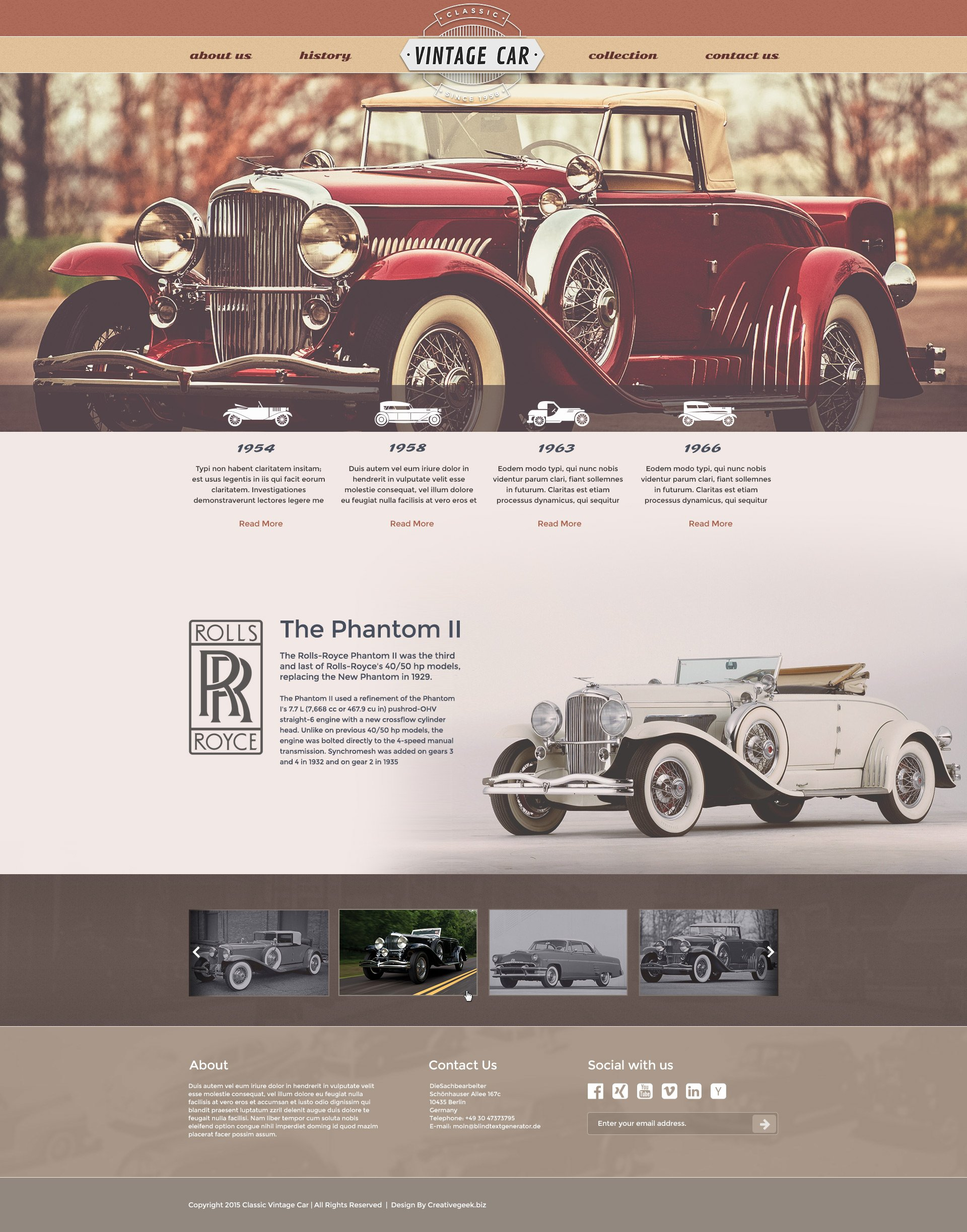Free Vintage Car Template Creativegeek - Classic car websites